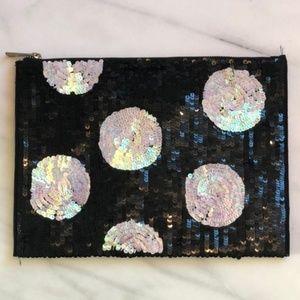 ASOS polka dot sequin zip clutch pouch bag